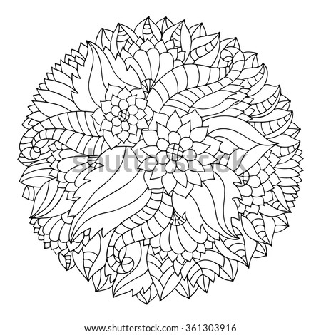 Black And White Circle Floral Ornament. Round Lace Flower ...