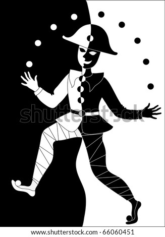 black and white clown