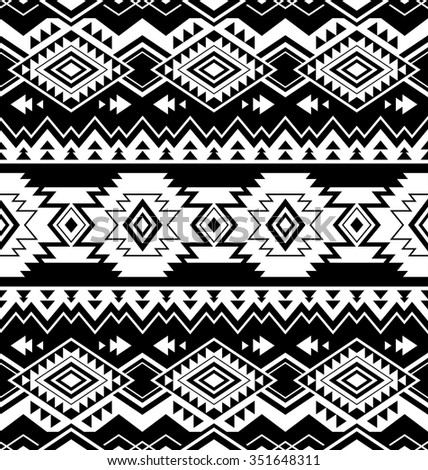 black and white color tribal navajo seamless pattern
