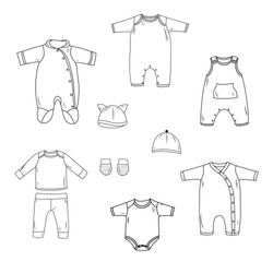 Black and white coloring for preschool children. Vector illustration. Hand-drawn set of baby clothes