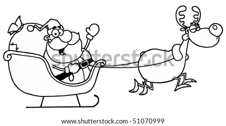 And White Coloring Page Outline Of A Reindeer Flying Santa's Sleigh