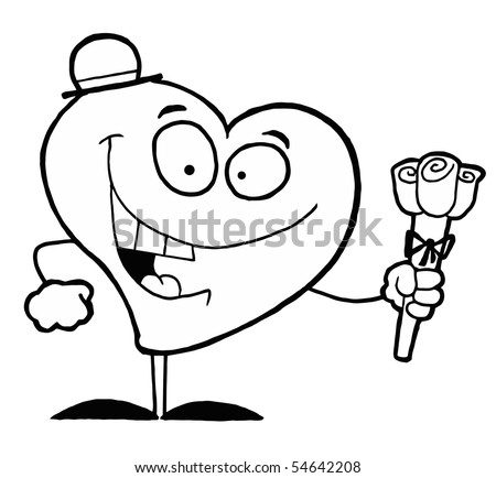 coloring pages of hearts and roses. stock vector : Black And