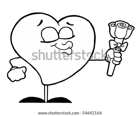 justin bieber black and white coloring pages. Pink Love Heart With Black