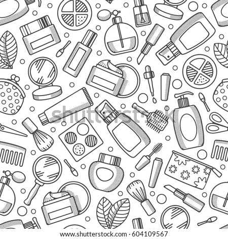 Black and white cosmetics and makeup seamless pattern in line art style. Vector illustration.