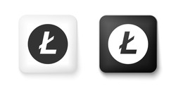 Black and white Cryptocurrency coin Litecoin LTC icons isolated on white background. Digital currency. Altcoin symbol. Blockchain based secure crypto currency. Square button. Vector.