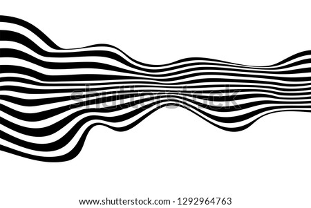 black and white curved line  stripe mobious wave abstract background #1292964763