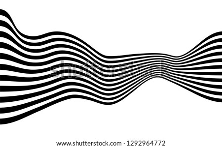 black and white curved line  stripe mobious wave abstract background #1292964772