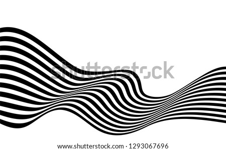 black and white curved line  stripe mobious wave abstract background #1293067696
