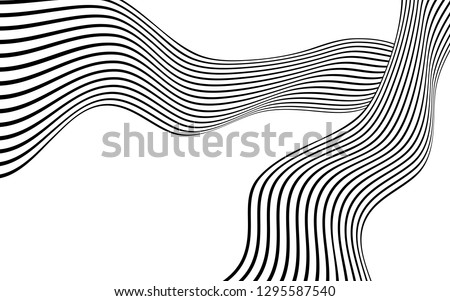 black and white curved line  stripe mobious wave abstract background #1295587540