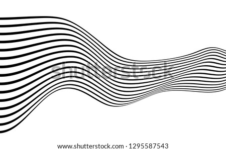 black and white curved line  stripe mobious wave abstract background #1295587543