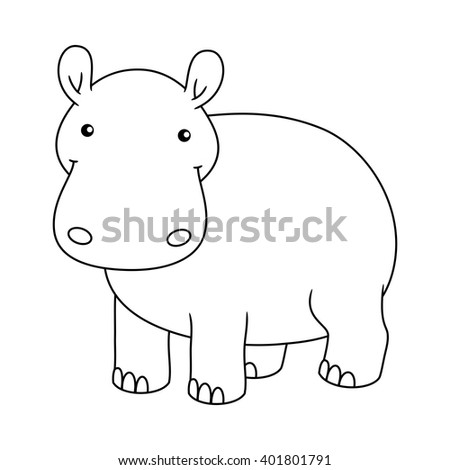 Black And White Cute Cartoon Baby Hippo Smiling Coloring Book For The Children Vector