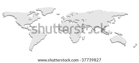 Black and White 3D World map - stock vector