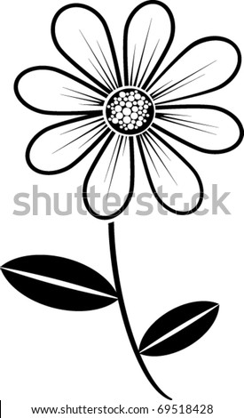 black and white daisy - stock vector