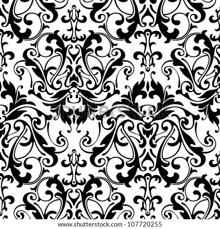 black and white damask seamless background