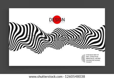 Black and white design. Pattern with optical illusion. Abstract 3D geometrical background. Vector illustration. Foto d'archivio ©