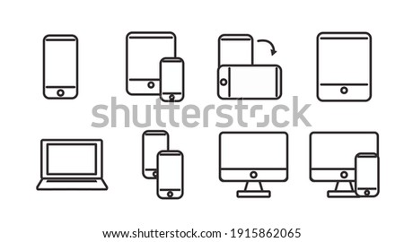 Black and White Devices Icon Set. Vector Isolated Illustration