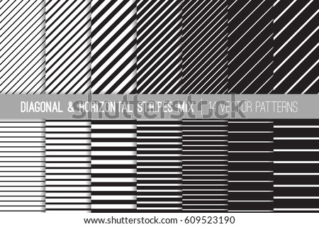 Shutterstock Black and White Diagonal and Horizontal Stripes Vector Patterns. Modern Striped Backgrounds. Set of Pin Stripes and Candy Stripes. Variable Thickness Lines. Pattern Tile Swatches Included.