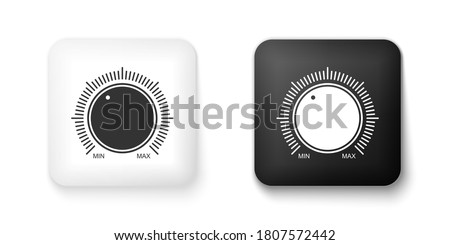 Black and white Dial knob level technology settings icon isolated on white background. Volume button, sound control, music knob with scale, analog regulator. Square button. Vector. Stock photo ©