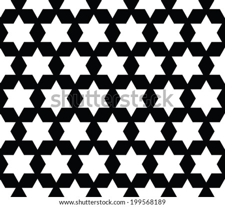 Black and White Diamond and Star Shape Fabric Background that is seamless and repeats