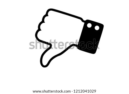 Black and white dislike hand thumb illustration vector