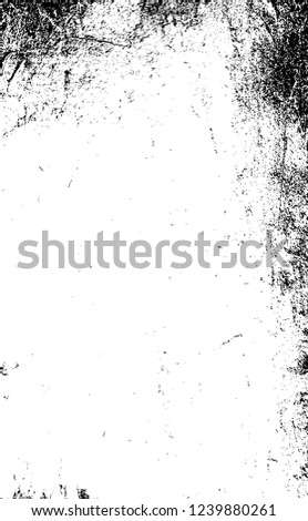 Black And White Distressed Grunge Vector Overlay Template. Dark Paint Weathered Texture. Abstract Dirty Creative Design Backdrop Element  #1239880261