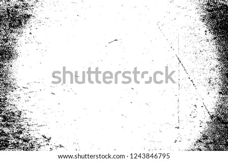 Black And White Distressed Grunge Vector Overlay Template. Dark Paint Weathered Texture. Abstract Dirty Creative Design Backdrop Element  #1243846795