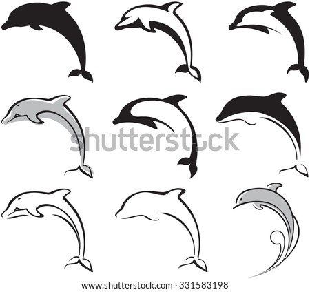 black and white dolphins set