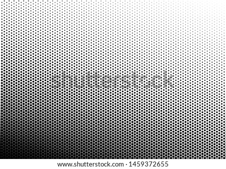 Black and White Dots Background. Gradient Pattern. Grunge Overlay. Vintage Pop-art Backdrop. Vector illustration