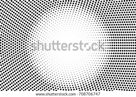 Black and white dotted vector background. Comic style halftone banner with text place. Monochrome halftone overlay. Black dot on transparent background. Vintage halftone texture. Round dotted ornament