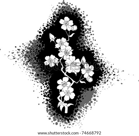 Cherry Blossom Drawing Black And White Black And White Drawing of a