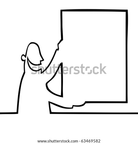 Black and white drawing of a man holding a bulletin board up in the air. Can be used for any kind of textual or visual message or ad.