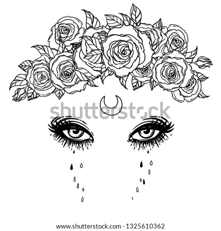 Black and white drawing of beautiful eyes with moon and roses. Vector illustration isolated. Emotions: expression of sadness. Madonna, Lady of Sorrow.