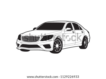 black and white drawing of car