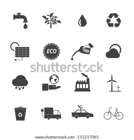 Black and White Eco icons set 2