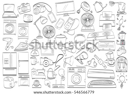 free sewing vector items set download free vector art stock Electrical Diagram Symbols black and white electronic products isolated drawing household products doodle home appliance