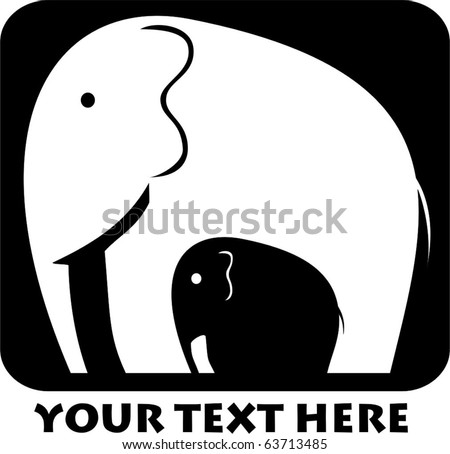 black and white elephant mother
