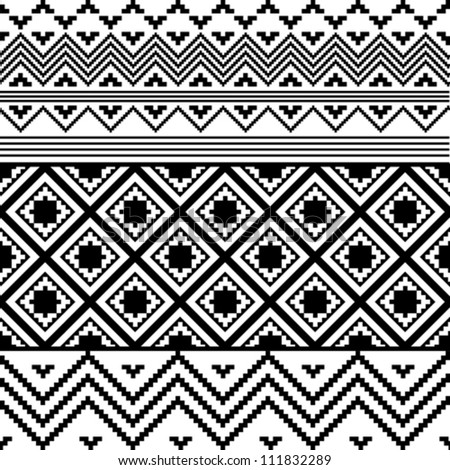 Black and white ethnic texture - stock vector