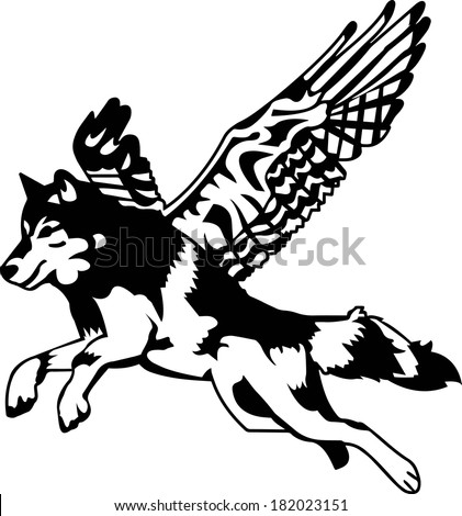 black and white fantasy wolf
