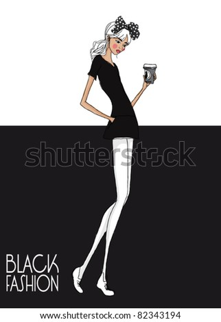 black and white fashion girl