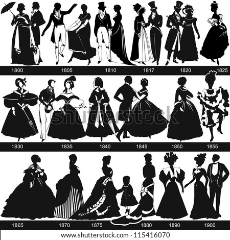 Black and white 1800-1900 fashion silhouettes are dancing and walking vector illustration