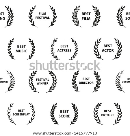 Black and white film award wreaths. Seamless pattern. Vector illustration.