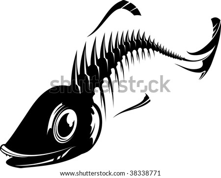 stock vector : Black and white fish skeleton. Vector illustrashion.