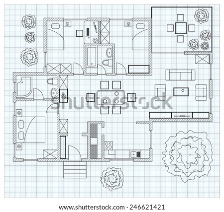 Black And White Floor Plan Sketch Of A House On Millimeter Paper.