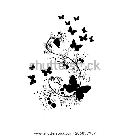stock-vector-black-and-white-floral-abstraction-with-butterflies-vector