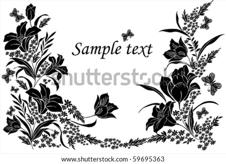 black and white floral background or cover with label for your text