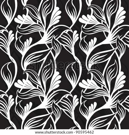 black and white floral background  - vector illustration