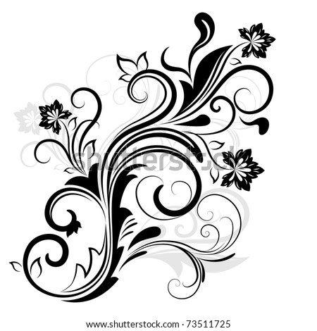 Black and white floral design element.
