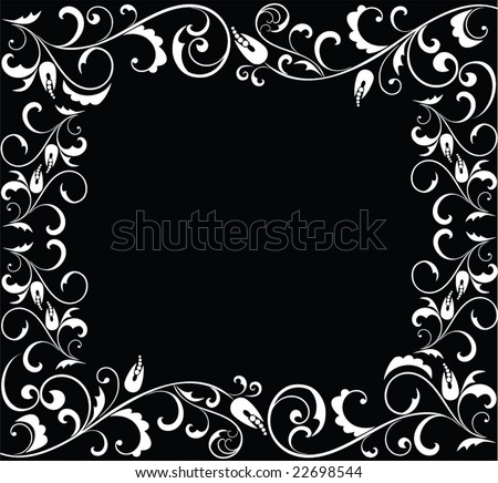 Black and white floral frame. See my gallery for more - stock vector