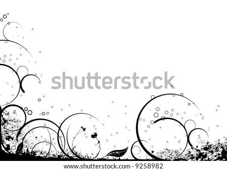 stock vector : Black and white floral nature background ideal as a