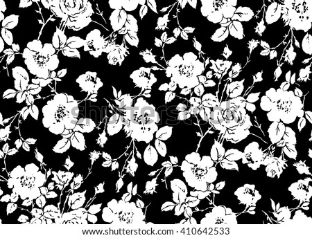Floral Pattern Black And White